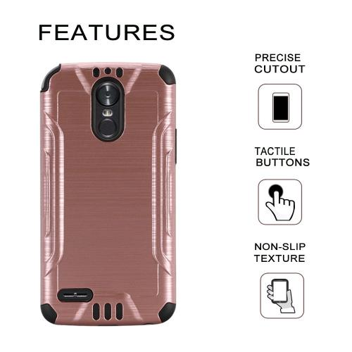 LG Stylo 3/ Stylo 3 Plus Hybrid Case, Slim Armor Brushed Metal Design Hybrid Hard Case on TPU [Rose Gold] with Travel Wallet Phone Stand