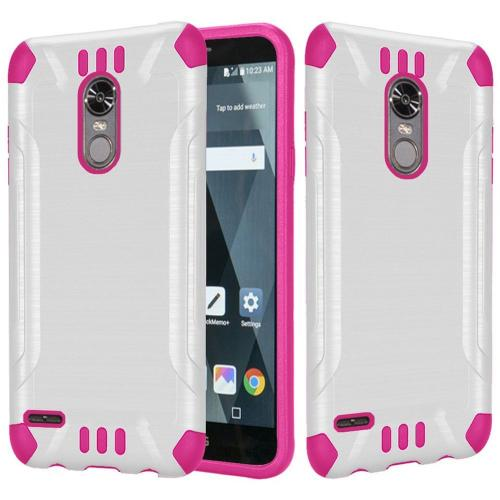 LG Stylo 3/ Stylo 3 Plus Hybrid Case, Slim Armor Brushed Metal Design Hybrid Hard Case on TPU [White/ Hot Pink] with Travel Wallet Phone Stand