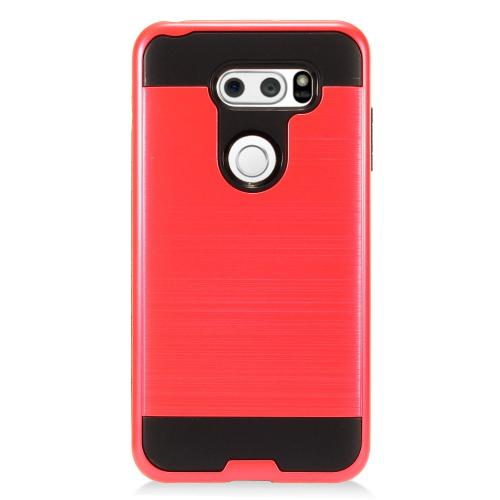 LG V30 Hybrid Case, [Red/ Black] Slim Armor Brushed Metal Design Hybrid Hard Case on TPU Case