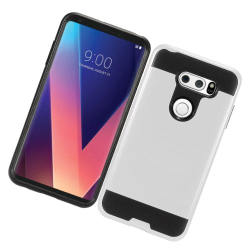 LG V30 Hybrid Case, [Silver/ Black] Slim Armor Brushed Metal Design Hybrid Hard Case on TPU Case