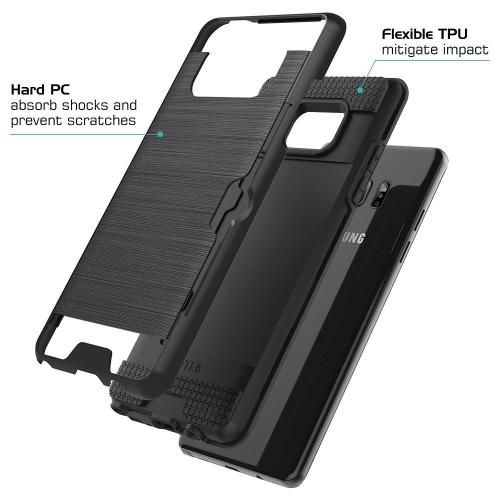 LG X Power 2/ X Charge Card Case, [Black] Metallic Case Slim Brushed Metal Hybrid Hard Case on TPU w/ Card Slot