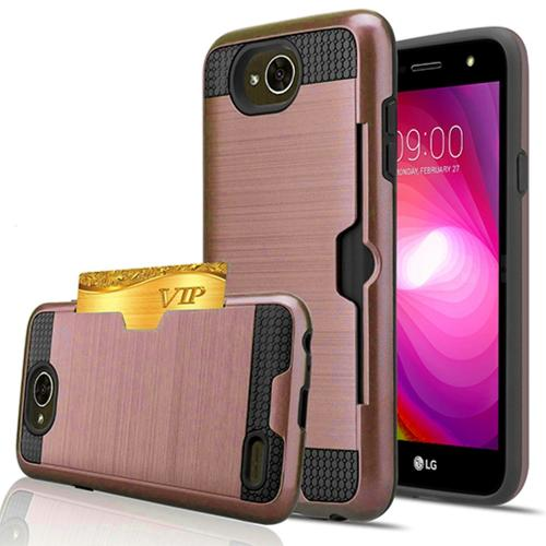 LG X Power 2/ X Charge Card Case, [Rose Gold/ Black] Metallic Case Slim Brushed Metal Hybrid Hard Case on TPU w/ Card Slot