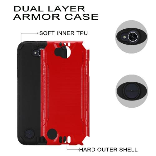 LG X Power 2/ X Charge Hybrid Case, Slim Armor Brushed Metal Design Hybrid Hard Case on TPU [Red] with Travel Wallet Phone Stand