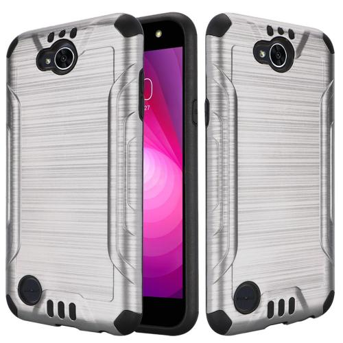 LG X Power 2/ X Charge Hybrid Case, Slim Armor Brushed Metal Design Hybrid Hard Case on TPU [Silver] with Travel Wallet Phone Stand