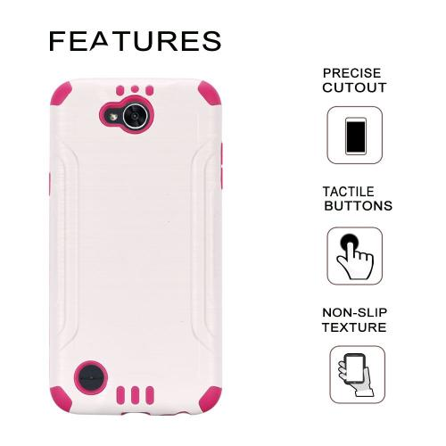 X Power 2/ X Charge Hybrid Case, Slim Armor Brushed Metal Design Hybrid Hard Case on TPU [White/ Hot Pink] with Travel Wallet Phone Stand