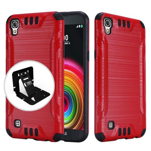 LG X Power Case, Slim Armor Brushed Metal Design Hybrid Hard Case on TPU [Red/ Black]  with Travel Wallet Phone Stand