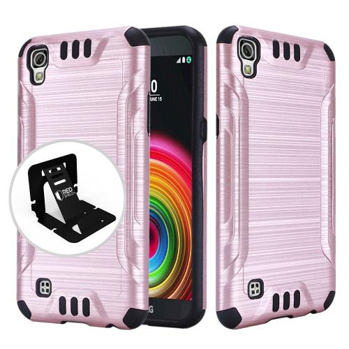 LG X Power Case, Slim Armor Brushed Metal Design Hybrid Hard Case on TPU [Rose Gold/ Black]  with Travel Wallet Phone Stand