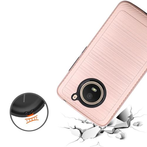 Motorola Moto E4 PLUS Hybrid Case, [Rose Gold] Slim Armor Brushed Metal Design Hard Case on TPU