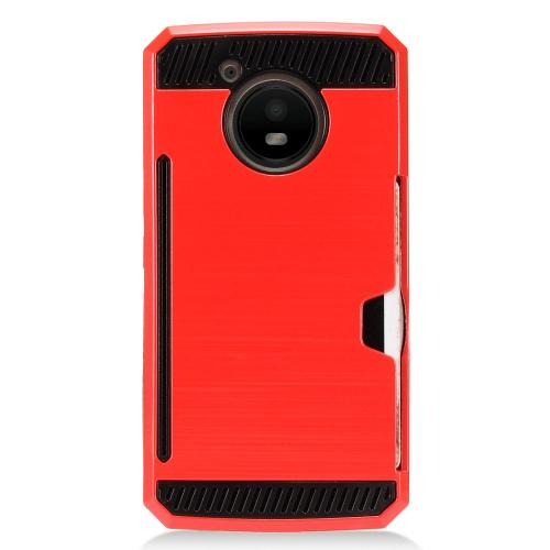 [REDshield] Motorola Moto E4 Card Case, [Red] Metallic Case Slim Brushed Metal Hybrid Hard Case on TPU w/ Card Slot