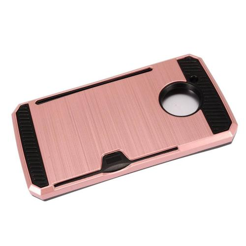 [REDshield] Motorola Moto E4 Card Case, [Rose Gold] Metallic Case Slim Brushed Metal Hybrid Hard Case on TPU w/ Card Slot