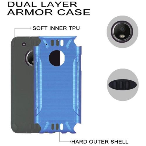 Motrola Moto G5 Plus Shockproof Case, Slim Armor Brushed Metal Design Hybrid Hard Case on TPU [Blue] with Travel Wallet Phone Stand