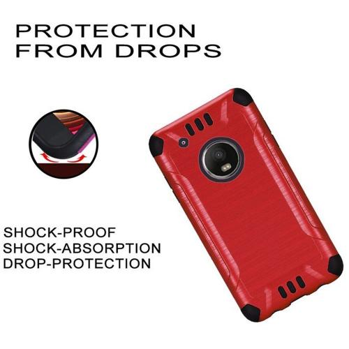 Motrola Moto G5 Plus Shockproof Case, Slim Armor Brushed Metal Design Hybrid Hard Case on TPU [Red] with Travel Wallet Phone Stand