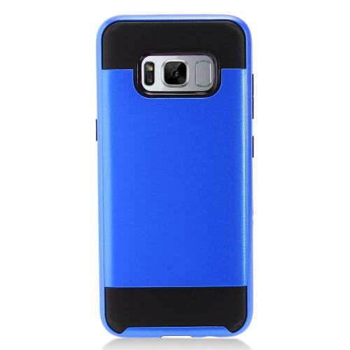 Samsung Galaxy S8 Plus Metallic Case Slim Armor Brushed Metal Design Hybrid Hard Case on TPU [Blue/ Black] with Travel Wallet Phone Stand