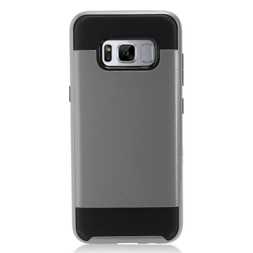 Samsung Galaxy S8 Plus Metallic Case Slim Armor Brushed Metal Design Hybrid Hard Case on TPU [Gray/ Black] with Travel Wallet Phone Stand