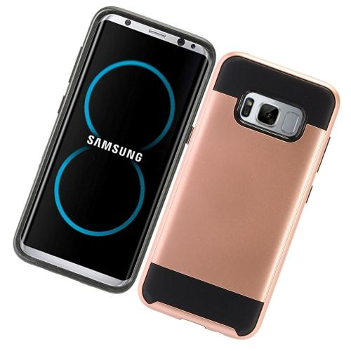 Samsung Galaxy S8 Plus Metallic Case Slim Armor Brushed Metal Design Hybrid Hard Case on TPU [Rose Gold/ Black] with Travel Wallet Phone Stand