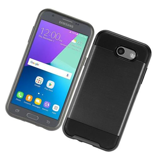 Samsung Galaxy J3 Emerge Case, Brushed Metal Hybrid Hard Case on TPU [Black] with Travel Wallet Phone Stand