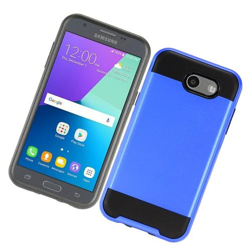 Samsung Galaxy J3 Emerge Case, Brushed Metal Hybrid Hard Case on TPU [Blue/ Black] with Travel Wallet Phone Stand