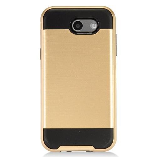 Samsung Galaxy J3 Emerge Case, Brushed Metal Hybrid Hard Case on TPU [Gold/ Black] with Travel Wallet Phone Stand