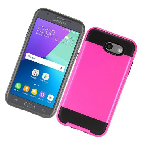 Samsung Galaxy J3 Emerge Case, Brushed Metal Hybrid Hard Case on TPU [Hot Pink/ Black] with Travel Wallet Phone Stand