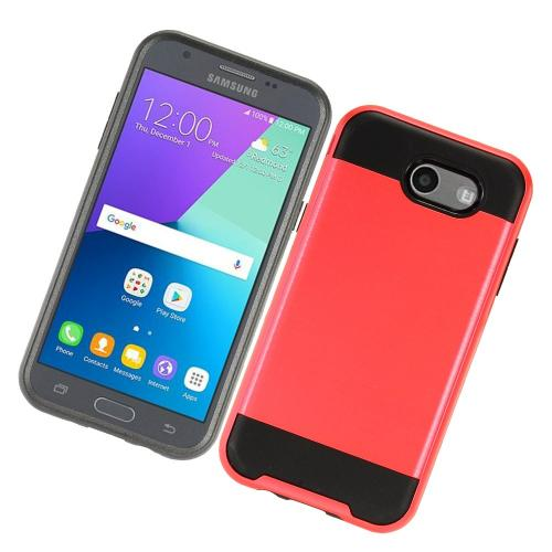 Samsung Galaxy J3 Emerge Case, Brushed Metal Hybrid Hard Case on TPU [Red/ Black] with Travel Wallet Phone Stand