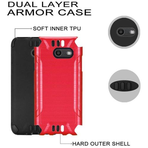 Samsung Galaxy J7 [2017]/ Galaxy J7 Perx/ J7 V/ Galaxy Halo Shockproof Case, Slim Armor Brushed Metal Design Hybrid Hard Case on TPU [Red] with Travel Wallet Phone Stand