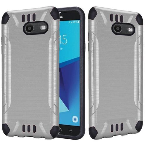 Samsung Galaxy J7 [2017]/ Galaxy J7 Perx/ J7 V/ Galaxy Halo Shockproof Case, Slim Armor Brushed Metal Design Hybrid Hard Case on TPU [Silver] with Travel Wallet Phone Stand