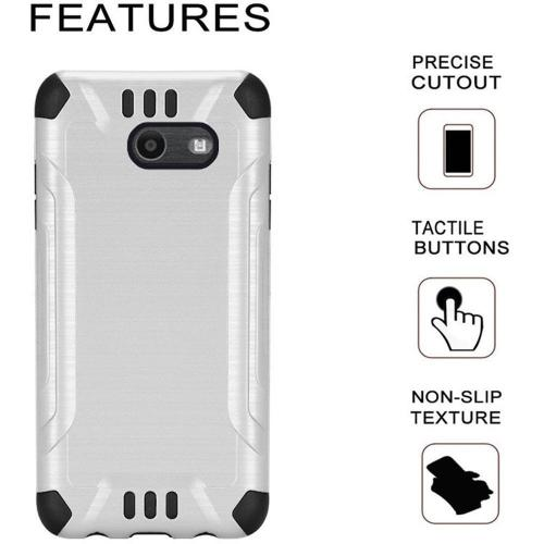 Samsung Galaxy J7 [2017]/ Galaxy J7 Perx/ J7 V/ Galaxy Halo Shockproof Case, Slim Armor Brushed Metal Design Hybrid Hard Case on TPU [White] with Travel Wallet Phone Stand