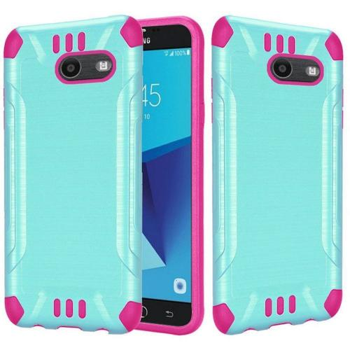 Samsung Galaxy J7 [2017]/ Galaxy J7 Perx/ J7 V/ Galaxy Halo Shockproof Case, Slim Armor Brushed Metal Design Hybrid Hard Case on TPU [Mint/ Hot Pink] with Travel Wallet Phone Stand