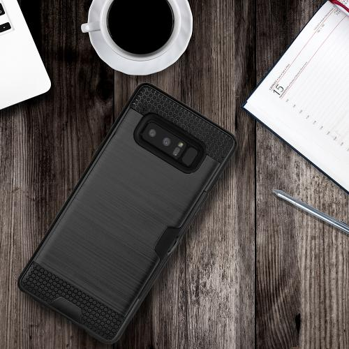 [REDshield] Samsung Galaxy Note 8 Card Case, [Black] Metallic Case Slim Brushed Metal Hybrid Hard Case on TPU w/ Card Slot