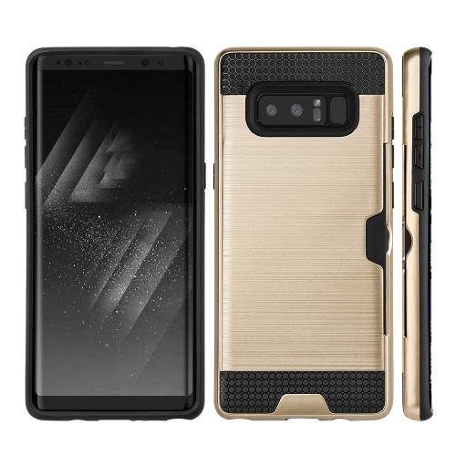 [REDshield] Samsung Galaxy Note 8 Card Case, [Gold & Black] Metallic Case Slim Brushed Metal Hybrid Hard Case on TPU w/ Card Slot