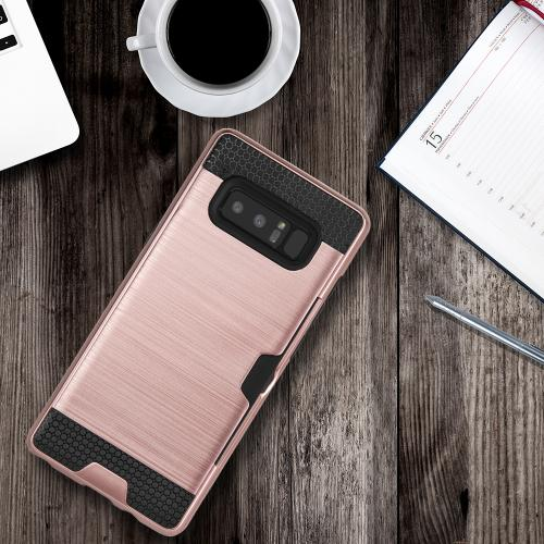 [REDshield] Samsung Galaxy Note 8 Card Case, [Rose Gold & Black] Metallic Case Slim Brushed Metal Hybrid Hard Case on TPU w/ Card Slot