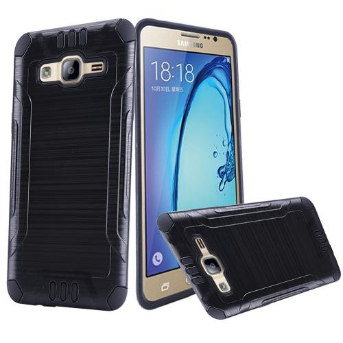 Samsung Galaxy On5 Case, Slim Armor Brushed Metal Design Hybrid Hard Case on TPU [Black]