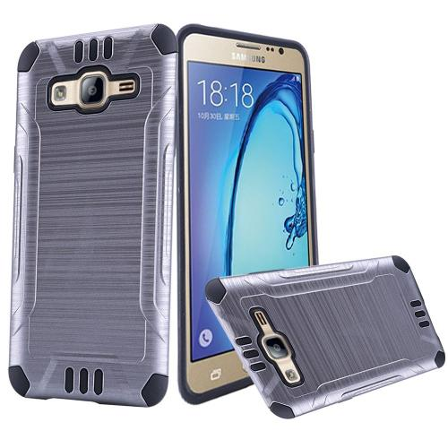 Samsung Galaxy On5 Case, Slim Armor Brushed Metal Design Hybrid Hard Case on TPU [Gray/ Black]