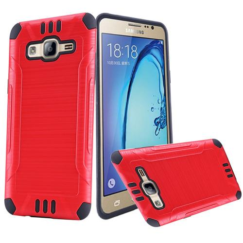 Samsung Galaxy On5 Case, Slim Armor Brushed Metal Design Hybrid Hard Case on TPU [Red/ Black]