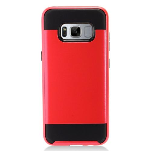 Samsung Galaxy S8 Slim Case, Slim Armor Brushed Metal Design Hybrid Hard Case on TPU [Red/ Black] with Travel Wallet Phone Stand