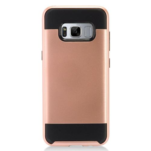 Samsung Galaxy S8 Slim Case, Slim Armor Brushed Metal Design Hybrid Hard Case on TPU [Rose Gold/ Black] with Travel Wallet Phone Stand