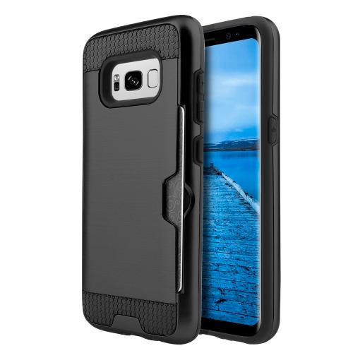 Samsung Galaxy S8 Plus Metallic Case, Slim Brushed Metal Hybrid Hard Case on TPU w/ Card Slot [Black] with Travel Wallet Phone Stand