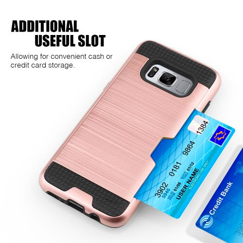 Samsung Galaxy S8 Plus Metallic Case, Slim Brushed Metal Hybrid Hard Case on TPU w/ Card Slot [Rose Gold/ Black] with Travel Wallet Phone Stand