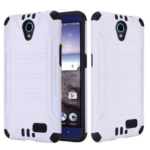 ZTE Avid Trio Case, Slim Armor Brushed Metal Design Hybrid Hard Case on TPU [White/ Black] with Travel Wallet Phone Stand