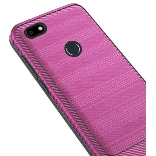 ZTE Blade X Hybrid Case, [Hot Pink] Slim Armor Brushed Metal Design Hard Case on TPU
