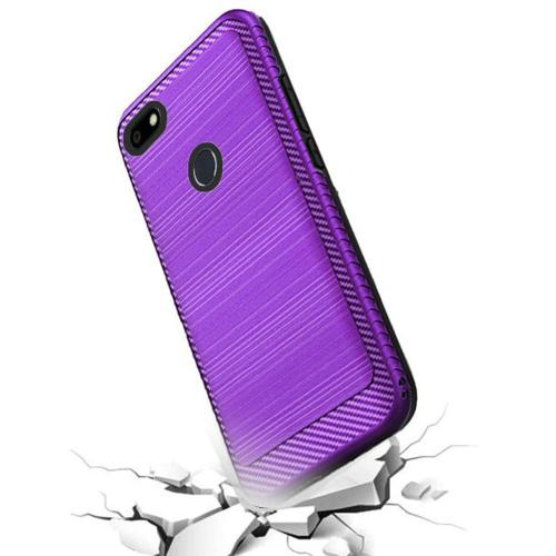 ZTE Blade X Hybrid Case, [Purple] Slim Armor Brushed Metal Design Hard Case on TPU