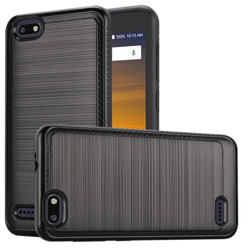 ZTE Blade Force Hybrid Case, [Black] Slim Armor Brushed Metal Design Hard Case on TPU