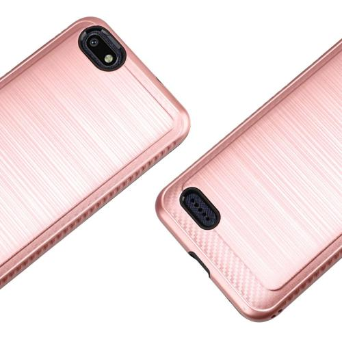 ZTE Blade Force Hybrid Case, [Rose Gold] Slim Armor Brushed Metal Design Hard Case on TPU