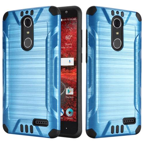 ZTE Grand X 4 Case, Slim Armor Brushed Metal Design Hybrid Hard Case on TPU [Blue/ Black] with Travel Wallet Phone Stand