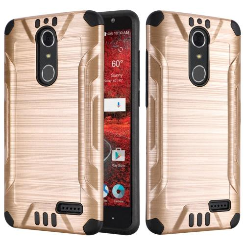 ZTE Grand X 4 Case, Slim Armor Brushed Metal Design Hybrid Hard Case on TPU [Gold/ Black] with Travel Wallet Phone Stand