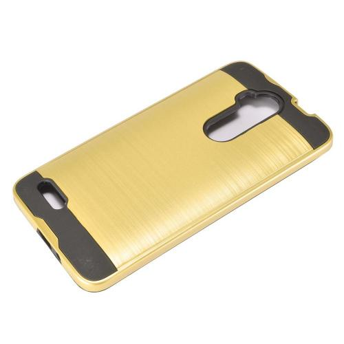 ZTE Max XL Hybrid Case, Slim Armor Brushed Metal Design Hybrid Hard Case on TPU [Gold] with Travel Wallet Phone Stand