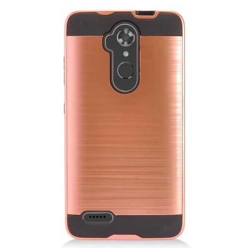 ZTE Max XL Hybrid Case, Slim Armor Brushed Metal Design Hybrid Hard Case on TPU [Rose Gold] with Travel Wallet Phone Stand