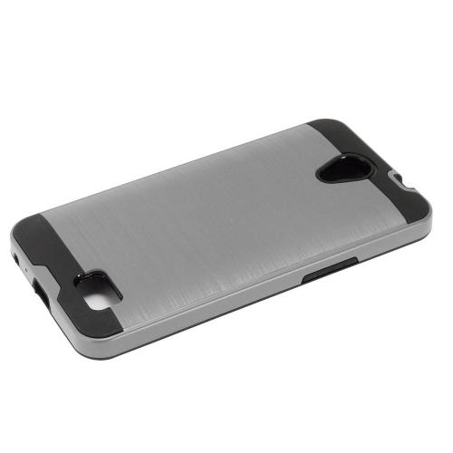ZTE Prestige 2 Case, Slim Armor Brushed Metal Design Hybrid Hard Case on TPU [Gray] with Travel Wallet Phone Stand