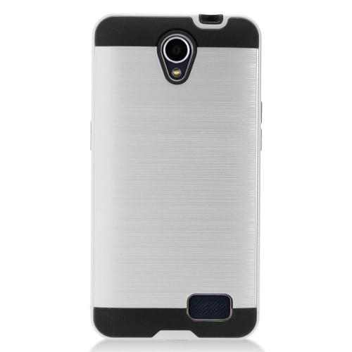 ZTE Prestige 2 Case, Slim Armor Brushed Metal Design Hybrid Hard Case on TPU [Silver] with Travel Wallet Phone Stand
