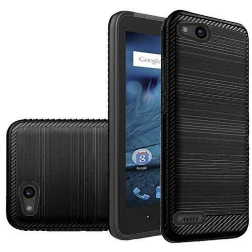 ZTE Tempo X/ Avid 4 Hybrid Case, [Black] Slim Armor Brushed Metal Design Hard Case on TPU